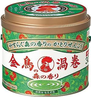 金鳥の渦巻 蚊取り線香 森の香り 30巻 缶