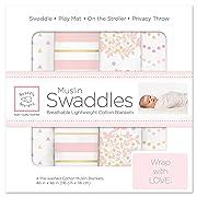 SwaddleDesigns Cotton Muslin Swaddle Blankets, Set of 4, Pink Heavenly Floral