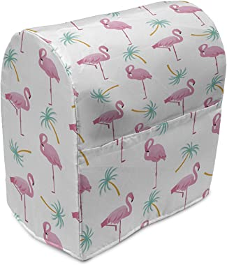 Lunarable Flamingo Stand Mixer Cover, Happy Summer Vibe Themed Pattern Palm Trees and Birds, Kitchen Appliance Organizer Bag