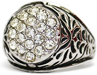 Providence Vintage Jewelry Men's Ring Clear Swarovski Crystals 18k White Gold Electroplated