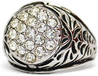 مجوهرات بروفيدنس العتيقة للرجال خاتم كريستال سواروفسكي شفاف 18 كيلو ذهب أبيض مطلي بالكهرباء