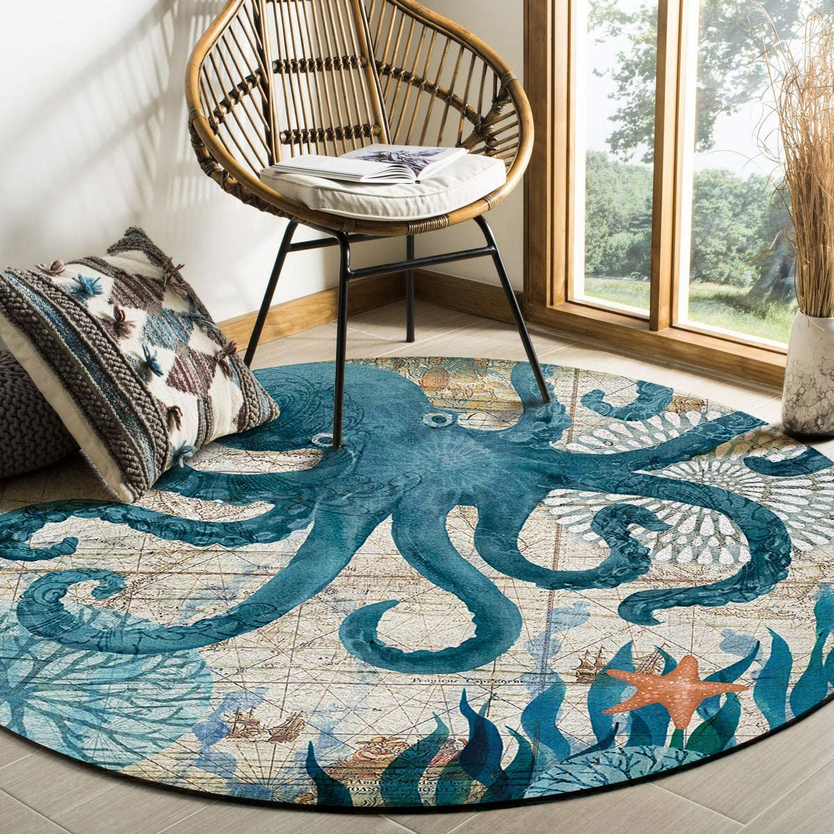 Watercolor Sea Octopus Kraken Free shipping Area Rug Sales of SALE items from new works Rugs Round 3ft Ocean Ani
