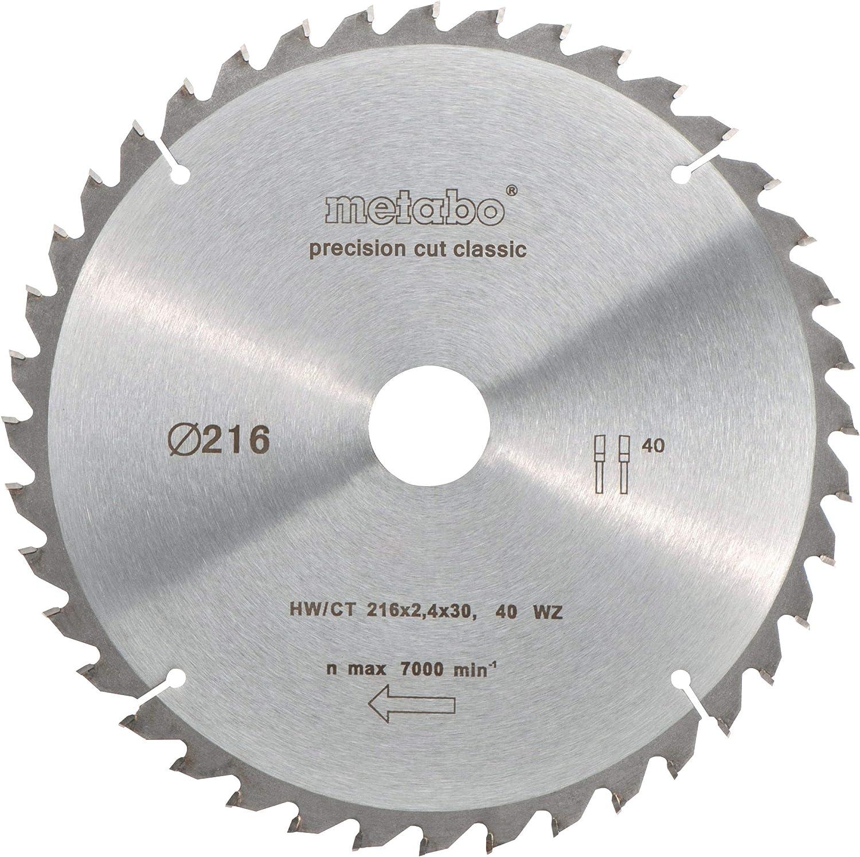 Metabo 628060000 628060000-Hoja de Sierra Metal Duro HW/CT Precision Cut 216 x 30 mm Dientes 48 WZ, 5º neg