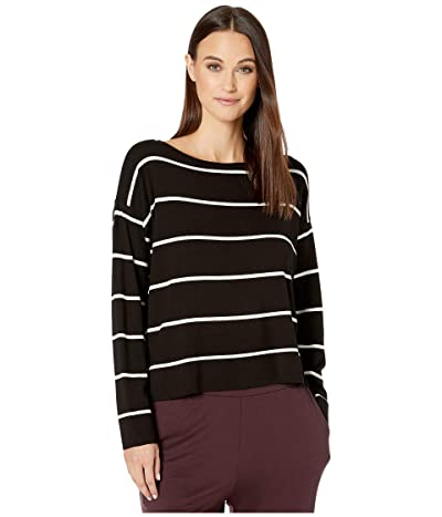 Eileen Fisher Lightweight Cozy Tencel Stretch Bateau Neck Box-Top (Black/Soft White) Women