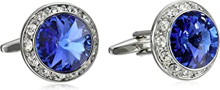 Men's Silver Royal Crystal Rondell Cuff Link