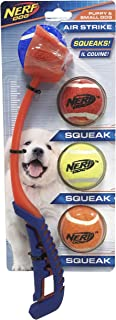 Nerf Dog 5-Piece Dog Toy Gift Set, Includes 13in Air Strike Launcher and 2in Squeak Tennis Ball 4-Pack, Nerf Tough Materia...
