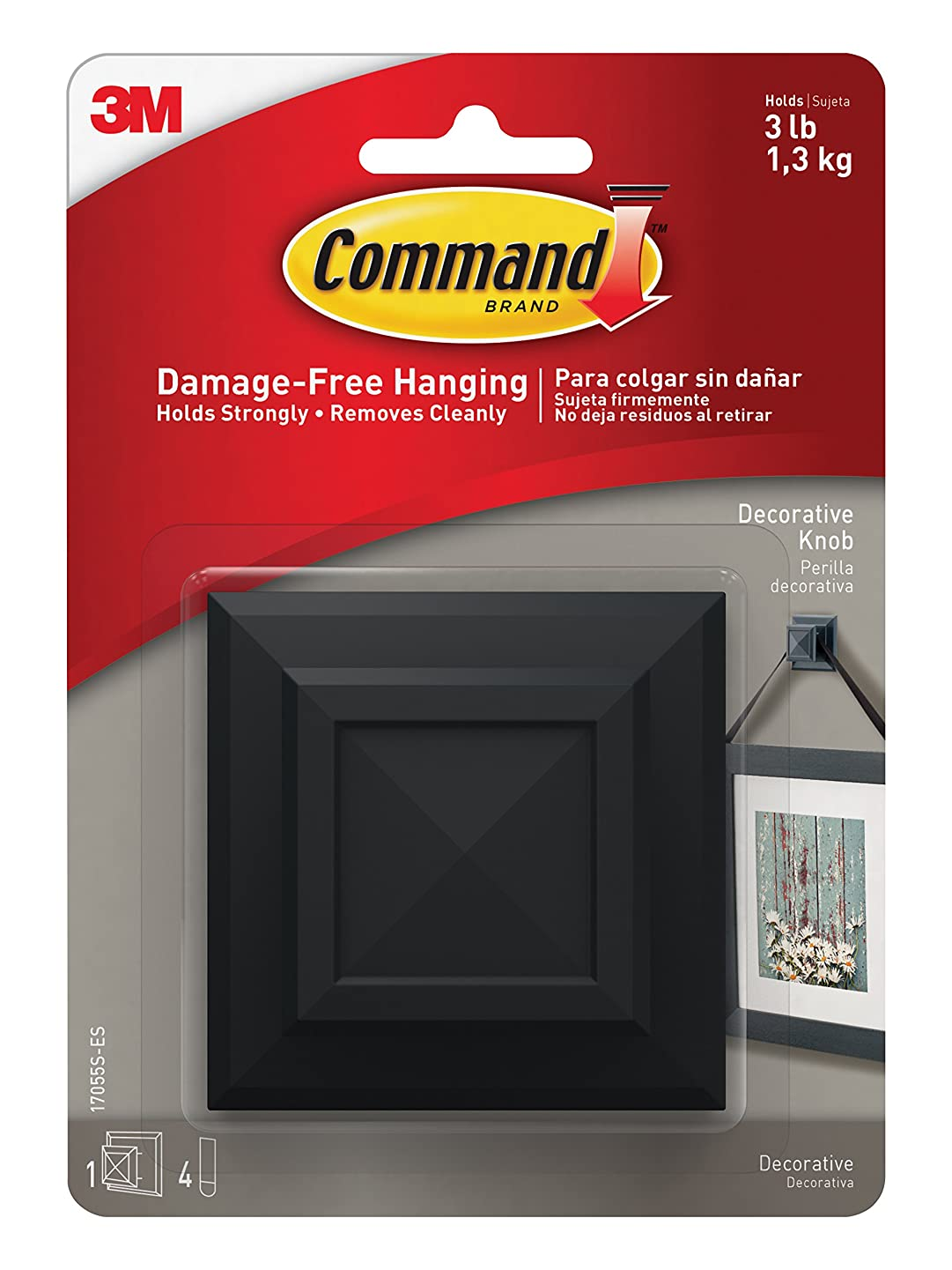 Command 17055S-ES 076308732004 Picture Hanging Knob, Square, 1-Hook, 4-Medium Strips, 1 Pack, Slate