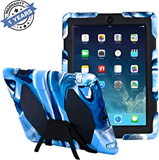 ipad 2/3/4 case,kidspr ipad caseNEWHOT Super Protect[Shockproof] [Rainproof] [sandproof] with Built-in Screen Protector for Apple iPad 2/3/4,2015 for ipad 2/3/4 (Camouflage Blue+Black)