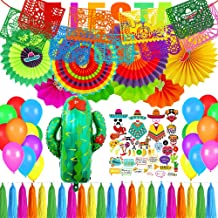 Supla Fiesta Party Decorations Cactus Balloons Hanging Paper Fans Photo Booth Props Mexican Cactus Papel Picado Banner Backdrop String Tassel Garland for Bachelorette Kids Taco Cinco De Mayo Party Supplies