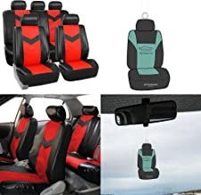 FH Group PU021115 Synthetic Leather Full Set Auto Seat Covers w. Free Air Freshener, Red/Black Color (Minimal Black Stains Final Sale)