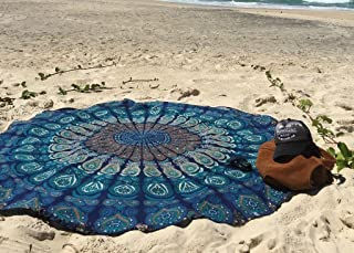 Round Beach Tapestry hippie/Boho Mandala Beach Towel Blanket Indian Cotton Bohemian Round Table cloth Mandala Decor/Yoga Mat Meditation Picnic Rugs 72 inch Circle