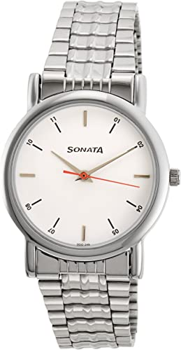 Sonata Analog White Dial Men s Watch NJ7987SM03W
