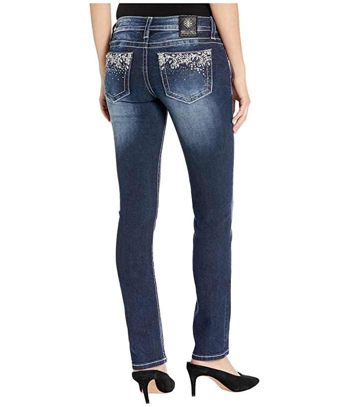 Miss Me Abstract Embroidered Straight Leg Jeans in Dark Blue