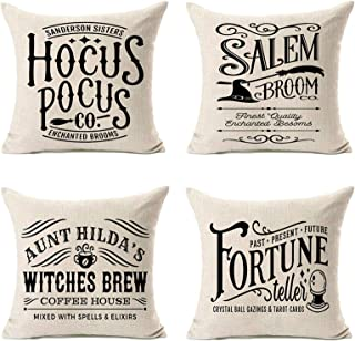 MFGNEH Hocus Pocus Halloween Pillow Covers 18x18 Set of 4,Halloween Decorations Witches Brew Cotton Linen Cushion Covers M...