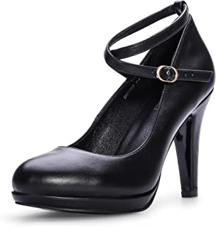 Women's RO4 Tracy Buckle Crisscross Strap Platform Pump Round Toe Party High Heels Shoes