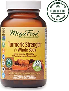MegaFood, Turmeric Strength for Whole Body, Gluten Free, Vegan, Maintains a Healthy Inflammation Response, Vitamin and Herbal Dietary Supplement, 60 Tablets (30 Servings) (FFP)