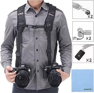 Double Shoulder Camera Strap Harness Quick Release Adjustable Dual Cam...