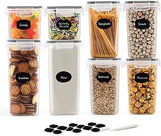 Robernet 8 Stück Vorratsdosen Set, BPA frei Müsli Schüttdose Frischhaltedosen, Kunststoff Vorratsdosen luftdicht, Müslidosen, 12 Etiketten für Getreide, Mehl, Zucker 8 Stück, Schwarz