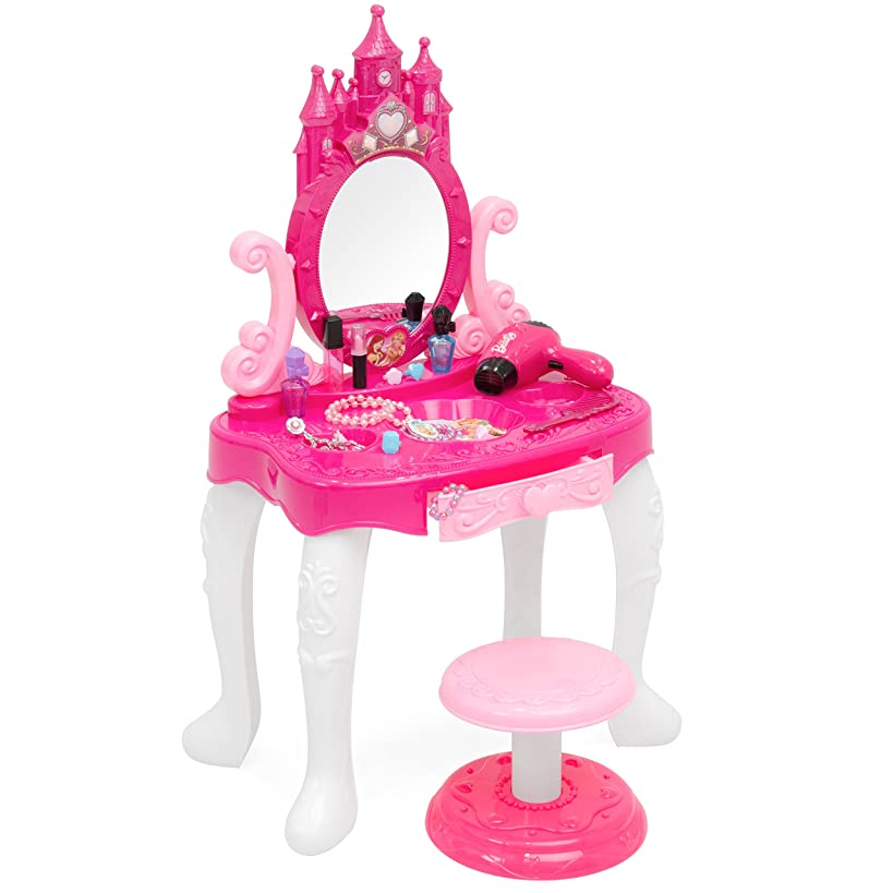 Best Choice Products 14-Piece Pretend Kids Vanity Table and Chair Beauty Playset w/ Fashion Accessories, Makeup, Hairdryer, Jewelry - Pink