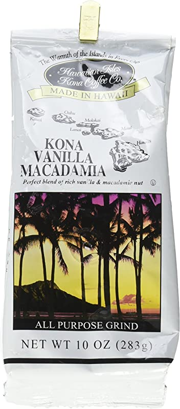 Hawaiian Isles Kona Coffee Co Kona Vanilla Macadamia Nut Ground Coffee Medium Roast 10 Ounce Bag