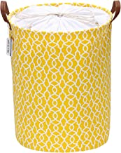 Sea Team Laundry Hamper Canvas Fabric Laundry Basket Collapsible Storage Bin with PU Leather Handles and Drawstring Closur...