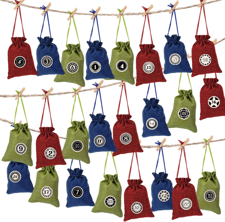 EKKONG Calendario adviento, 24 Calendario de Adviento 2020 DIY Bolsa de Regalo Navidad Decoracion Bolsas de Lino con Cordón con 24 Adhesivos Digitales de Adviento, 24 Clips, 10m Cuerda