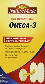 Nature Made Super Omega-3 Fish Oil Full Strength Softgels, Mini, 60 Count (Pack of 2)