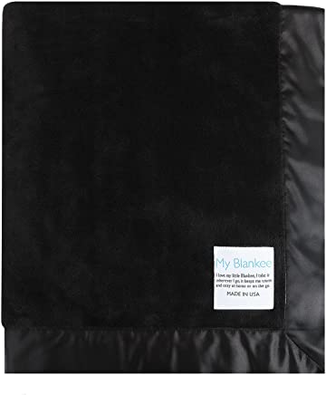 My Blankee Lightweight Minky Super Throw Blanket with Flat Satin Border,  Black,  60'' X 70''