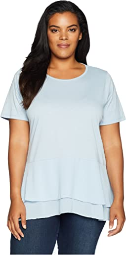 Plus Size Solid Woven Double Hem Top