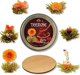 TEEROSE - Teeblumen Geschenkset Xmas-Edition für Weihnachten, 5 versch. Teerosen in goldfarbener Metalldose, Grüner Tee mit Rosenknospen, Jasmin, Ringelblume, Pfingstrose und Hibiscus