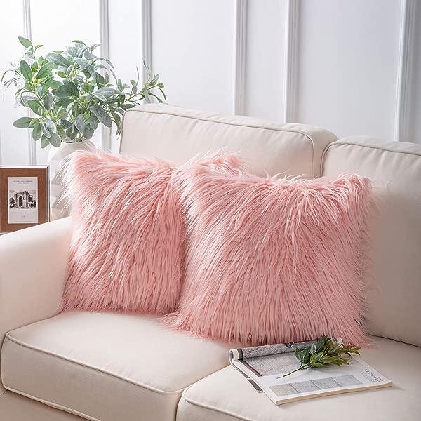 Phantoscope Set Of 2 Decorative New Luxury Series Merino Style Pink Fur Throw Pillow Case Cushion Cover 18 X 18 45cm X 45cm