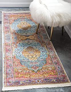 Unique Loom Baracoa Collection Bright Tones Vintage Traditional Light Blue Runner Rug (2' 2 x 6' 0)