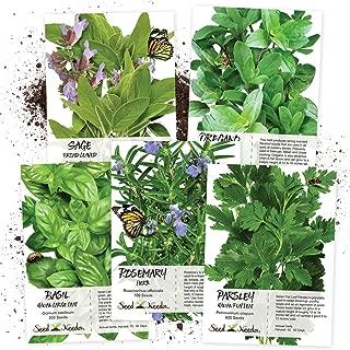 Seed Needs Italian Herb Seed Collection, Non-GMO (Basil, Rosemary, Sage, Parsley & Oregano)