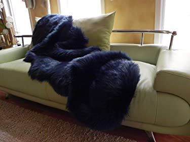 Sheepskin Rug, Dark Blue with Teal Reflections, Fluffy Faux Fur Rug for Living Room, Bedroom Decor, Kids Bed or Nursery, Soft Plush Shaggy Runner, Pet, Chair Bench Cover, Size 2 x 6 Feet