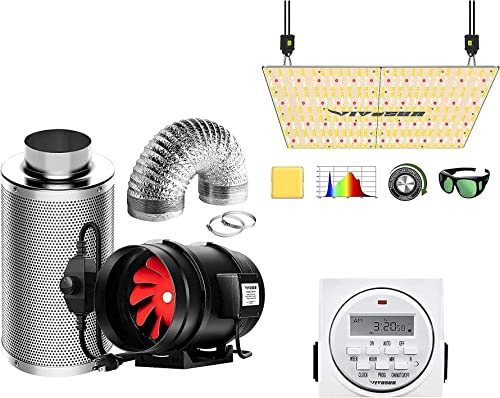 popular VIVOSUN 8 Inch 720 CFM Inline Fan Package, with VS4000 LED Grow Light new arrival and 7 Day Programmable Digital Timer, Samsung LM301H Diodes & online Brand Driver online