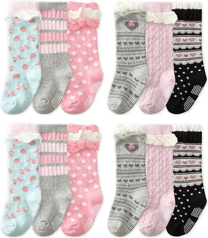 QandSweet 6 Pairs Baby Girl Knee-High Socks Toddler Princess Cute Non-skid Socks 8-36M