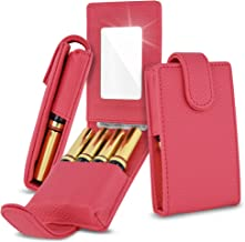Celljoy Case for LipSense, Younique, Kylie Cosmetics, Liquid Lipsticks and Lip Gloss with Mirror - Fits 4 Tubes Mirror Card Slot - Travel Purse Storage (Coral Pink)