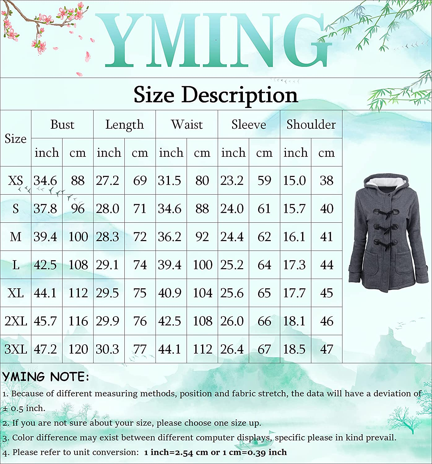 YMING Womens Winter Horn Button Jackets Warm Solid Color Pea Coat Classic Hooded Outwear Plus Size