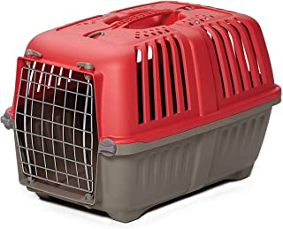 Pet Carrier: Hard-Sided Dog Carrier, Cat Carrier, Small Animal Carrier in Red| Inside Dims 20.70L x 13.22W x 14.09H & Suit...
