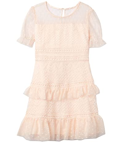 BCBG Girls Lace w/ Mesh Dot Puff Sleeve Dress (Big Kids) (Rose Petal) Girl
