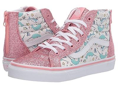 Vans Kids SK8-Hi Zip (Big Kid) ((Shark Party) Pink Icing/True White) Girls Shoes