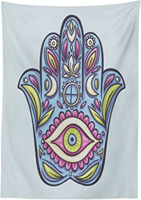 60 W X 84 L Inches Red and Grey tc/_25609/_60x84 Dining Room Kitchen Rectangular Table Cover Ambesonne Grey and Red Tablecloth Ethnic Eastern Cultural Folk and Mystic Boho Zen Ombre Mandala Art Design
