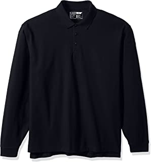 Tatical Men's Utility Long Sleeve Quarter Button Polo Shirt, Classic Long Sleeve Polo T-Shirt
