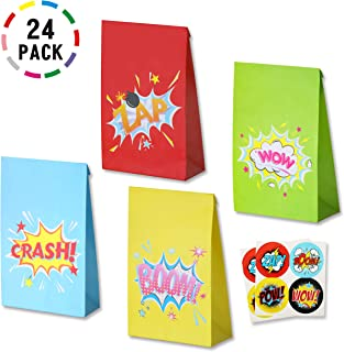 Uniceworld 24Pcs Superhero bombs Bags Party Favor Goodies Bags Birthday Theme Party Decoration Gift Bags with 24 Superhero Stickers Set of 24