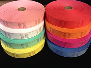 (4 Rolls of 2000 Tickets) 8,000 Total Blank Raffle Tickets (4 Assorted Colors)
