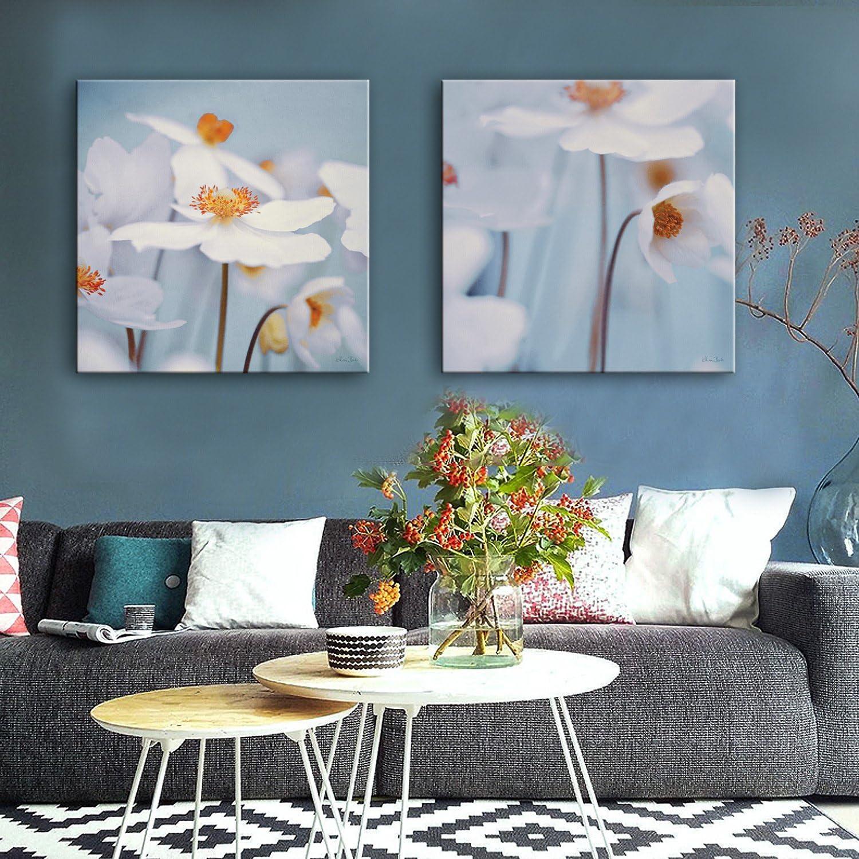 WG 2PCS ausgedehnte Segeltuch-Kunst-dunstige weiße Blaumen-Dekoration-Malerei, 50  50  2 B07KN4TBHW  | Neueste Technologie