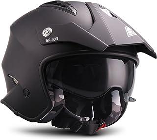 "SOXON SR-400 Mono ""Black""  Jet-Helm  Motorrad-Helm Roller-Helm Scooter-Helm Moped Mofa-Helm Chopper Retro Vespa Vintage Pilot  ECE 22.05 Sonnenvisier Schnellverschluss Tasche M 57-58cm"