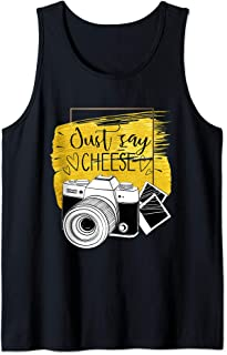 just say cheese photography vintage camera for photographer Tank Top