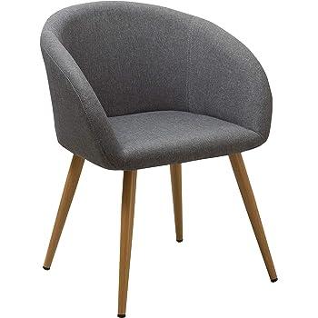Chaise Salle à Manger en Tissu (Lin) sélection de Couleur Design Retro Chaise scandinave avec Pieds en Metal Effet Bois WY 8023, Couleur:Gris,