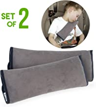 Car Seat belt Pillows for Kids (SET OF 2) By Boxiki Travel. Adjustable Vehicle Seat Belt Cushion for Children. Perfect for Road Trips